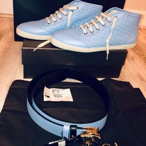 NEW GUCCI leather sneakers blue